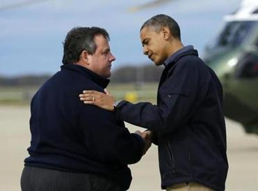 President Obama was greeted by New Jersey Governor Chris Christie upon his arrival at Atlantic City International Airport on Wednesday.